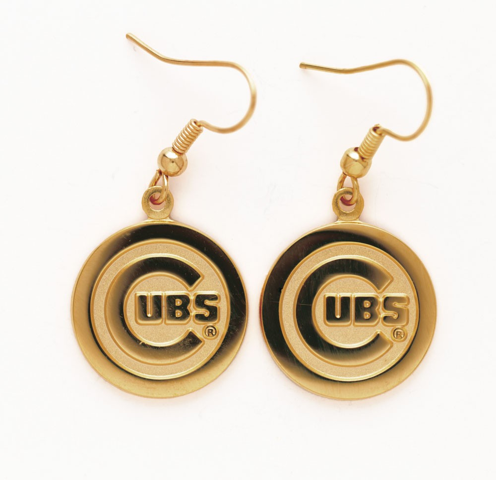 Chicago Cubs Gold Logo Ear Rings