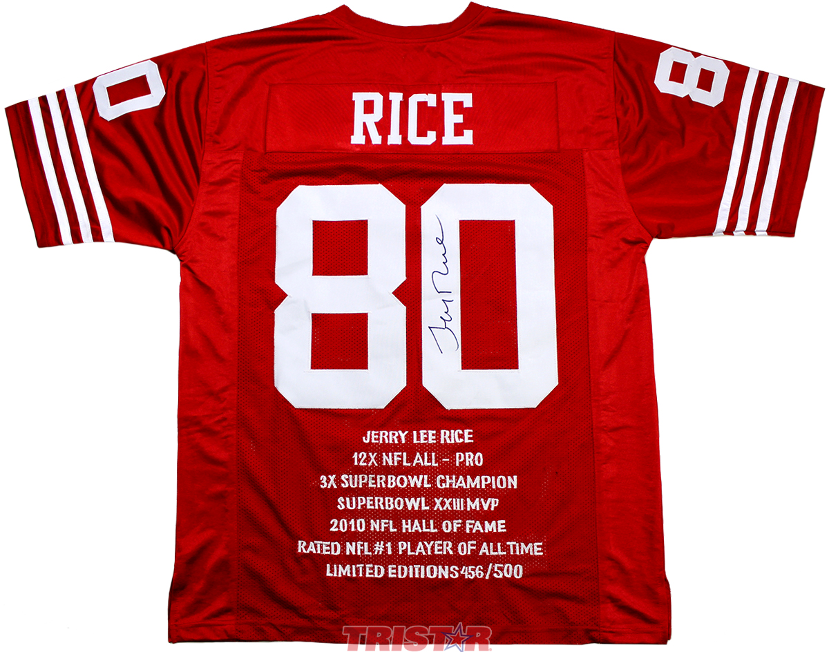3e556cd9b Jerry Rice Autographed Custom Stat Jersey - Eddie s Sports Treasures