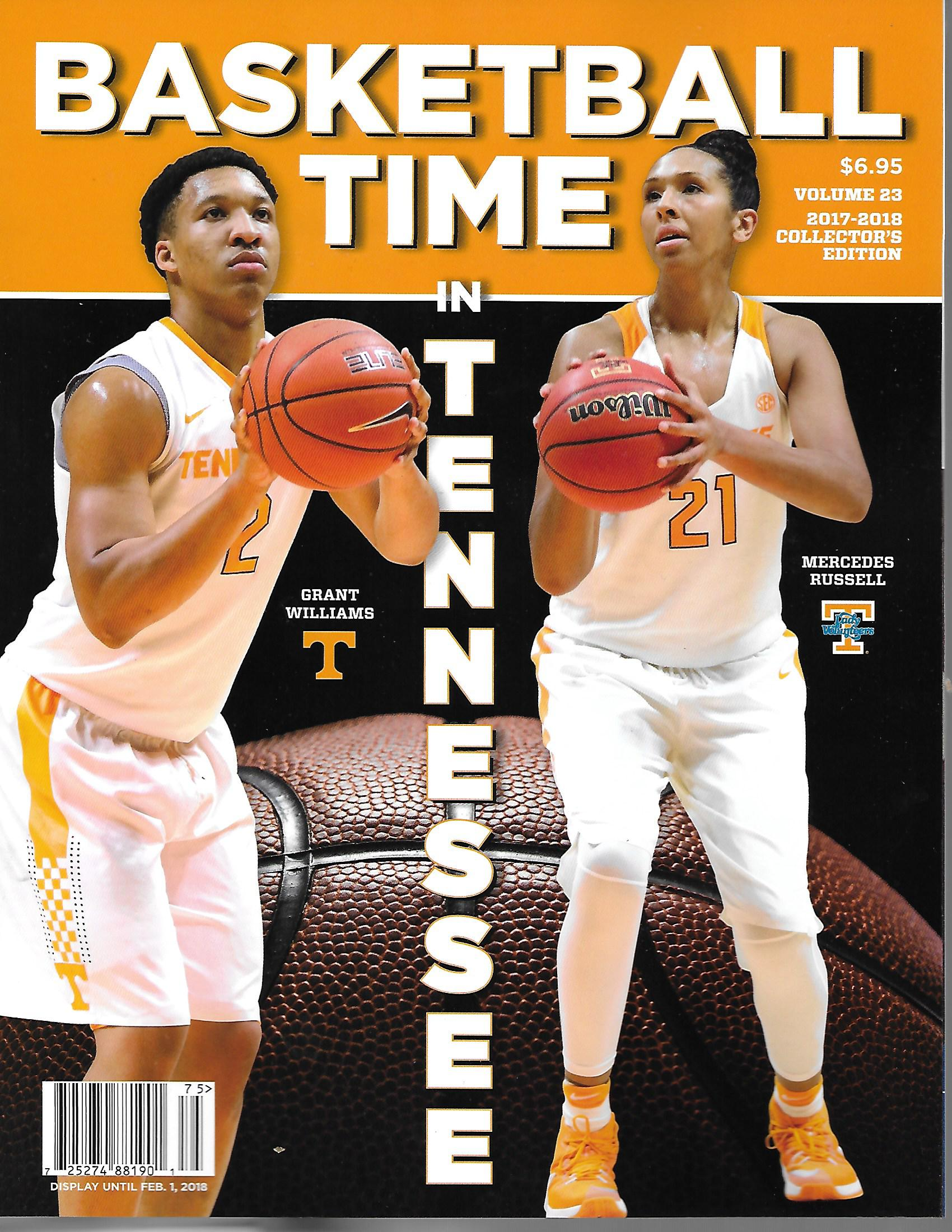 tennessee 2017 18 basketball time n tennessee magazine eddie 39 s sports treasures. Black Bedroom Furniture Sets. Home Design Ideas